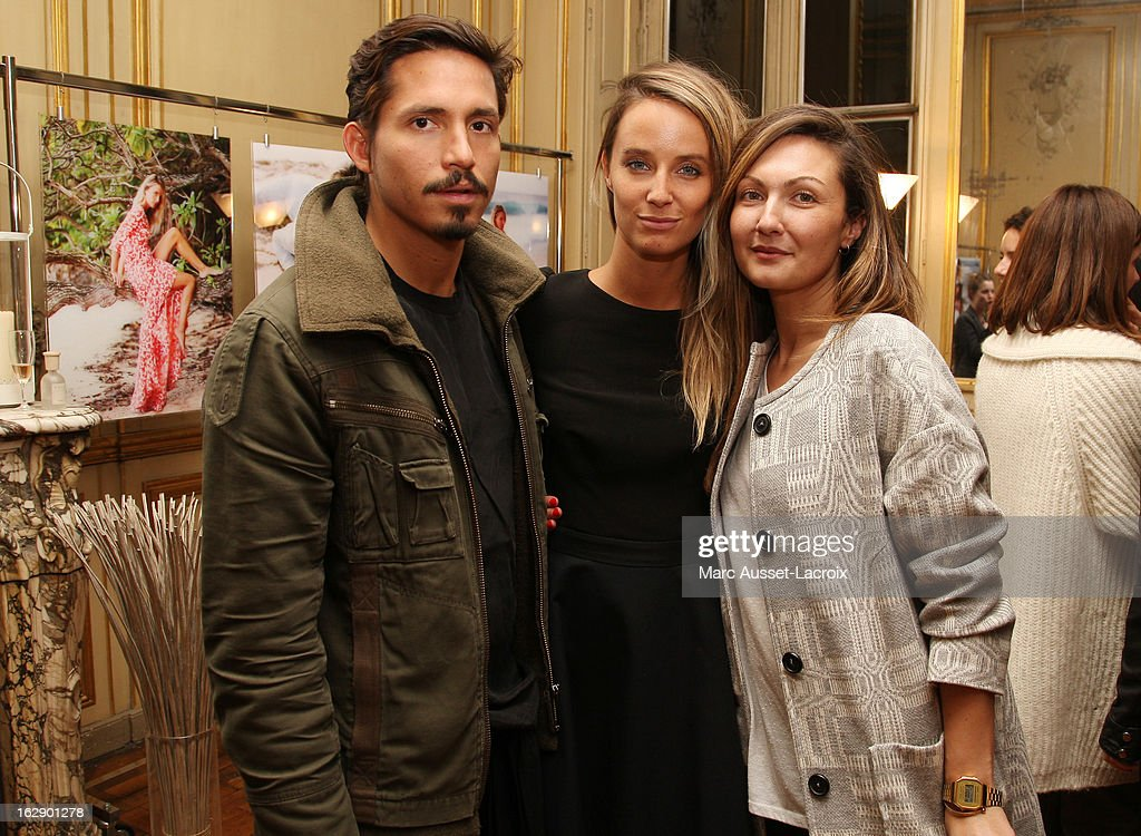 Jaime Rubiano, Jordane Crantelle and <a gi-track='captionPersonalityLinkClicked' href=/galleries/search?phrase=Delphine+Manivet+-+Fashion+Designer&family=editorial&specificpeople=13644542 ng-click='$event.stopPropagation()'>Delphine Manivet</a> attend a private cocktail reception for the presentation of the <a gi-track='captionPersonalityLinkClicked' href=/galleries/search?phrase=Delphine+Manivet+-+Fashion+Designer&family=editorial&specificpeople=13644542 ng-click='$event.stopPropagation()'>Delphine Manivet</a> Collection during Paris Fashion Week Fall/Winter 2013 on February 28, 2013 in Paris, France.