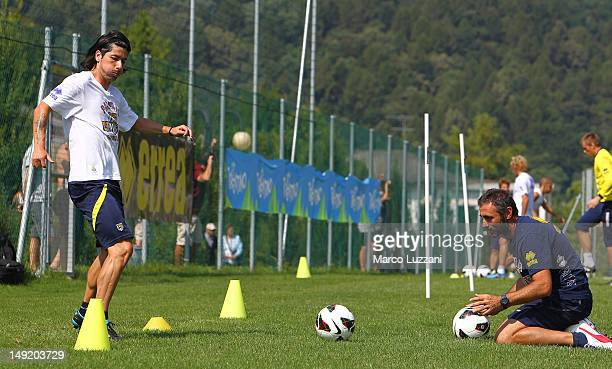 Jaime Valdes and Luca Bucci of FC Parma in action during day twelve of the FC Parma preseason training camp on July 25 2012 in Levico Terme near...