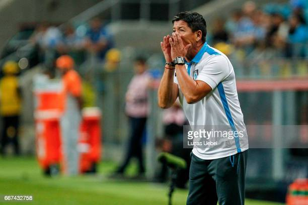 Jaime Vera coach of Deportes Iquique during the match Gremio v Deportes Iquique as part of Copa Bridgestone Libertadores 2017 at Arena do Gremio on...
