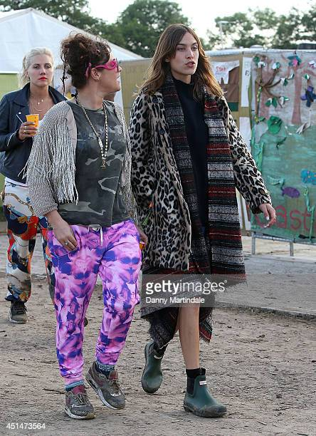 Jaime Winstone and Alexa Chung attend the Glastonbury Festival at Worthy Farm on June 29 2014 in Glastonbury England