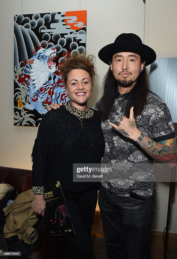 Jaime Winstone and Daisuke Sakaguchi attend The 'BE INSPIRED' art exhibition in aid of Save Wild Tigers, curated by Christian Furr at the Club at Cafe Royal from 22nd September until 8th October 2015 at Cafe Royal on September 22, 2015 in London, England.