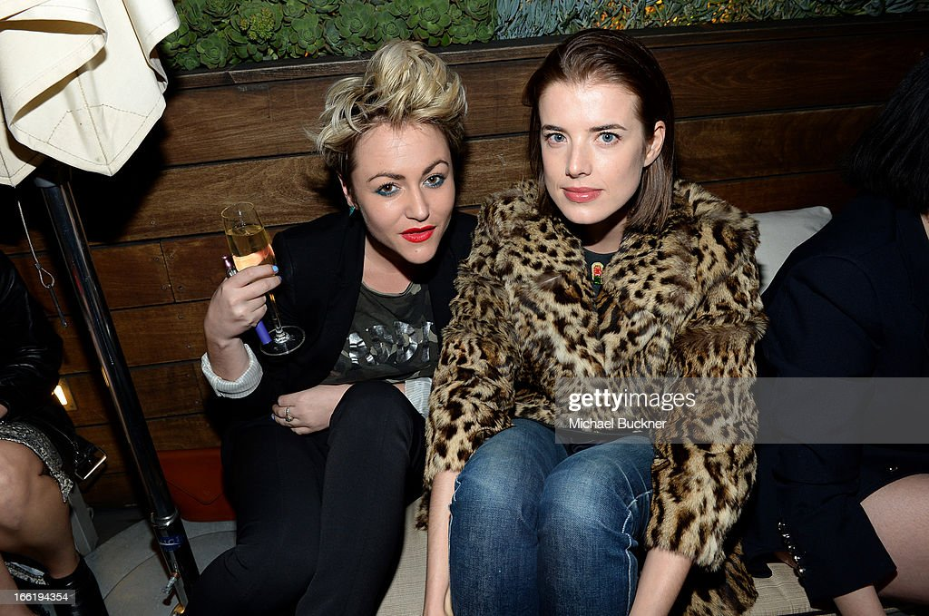 Jaime Winstone and model Agyness Deyn attend the British Fashion Council LONDON Show ROOMS LA AW13 Opening Party at Thompson Hotel on April 9, 2013 in Beverly Hills, California.