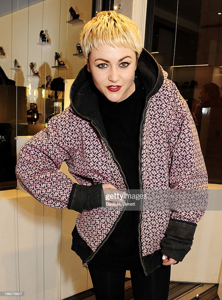 Jaime Winstone attends a Christmas drinks hosted by designer Nicholas Kirkwood to celebrate his partnership with Chambord black raspberry liquer, and launch the limited edition shoe 'The Chambord' at the Nicholas Kirkwood Mount Street store on December 12, 2012 in London, England.