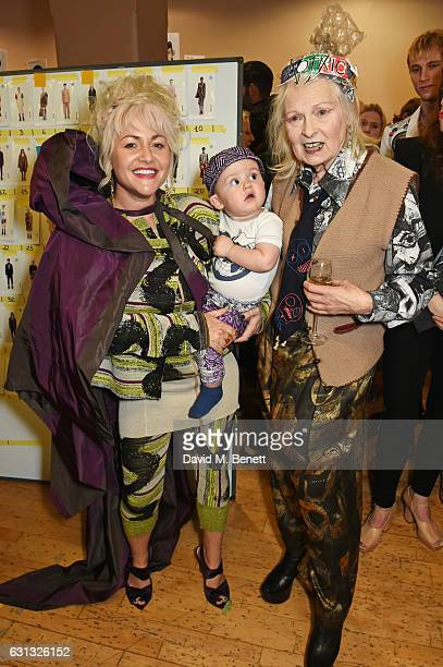Jaime Winstone baby Ray and Dame Vivienne Westwood pose backstage at the Vivienne Westwood show during London Fashion Week Men's January 2017...