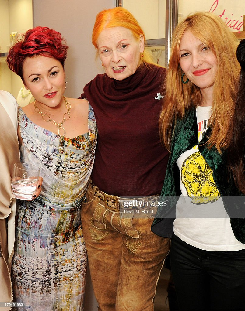Jaime Winstone, Dame Vivienne Westwood and Josephine de la Baume attend the 12th birthday of New York jewellery house Fararone Mennella, with guest of honour Patricia Field, at their Knightsbridge store on June 13, 2013 in London, England.