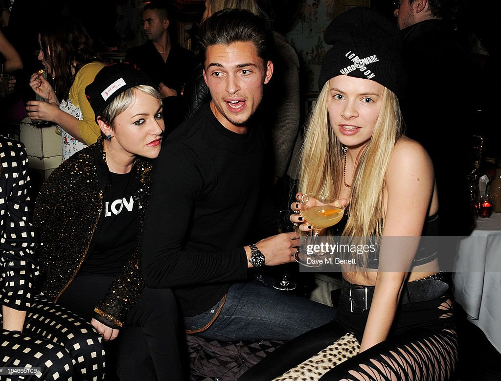 Jaime Winstone, Harvey Newton Haydon and Jessica Horwell attend the ABSOLUT Elyx launch party at The Box Soho on March 26, 2013 in London, England.
