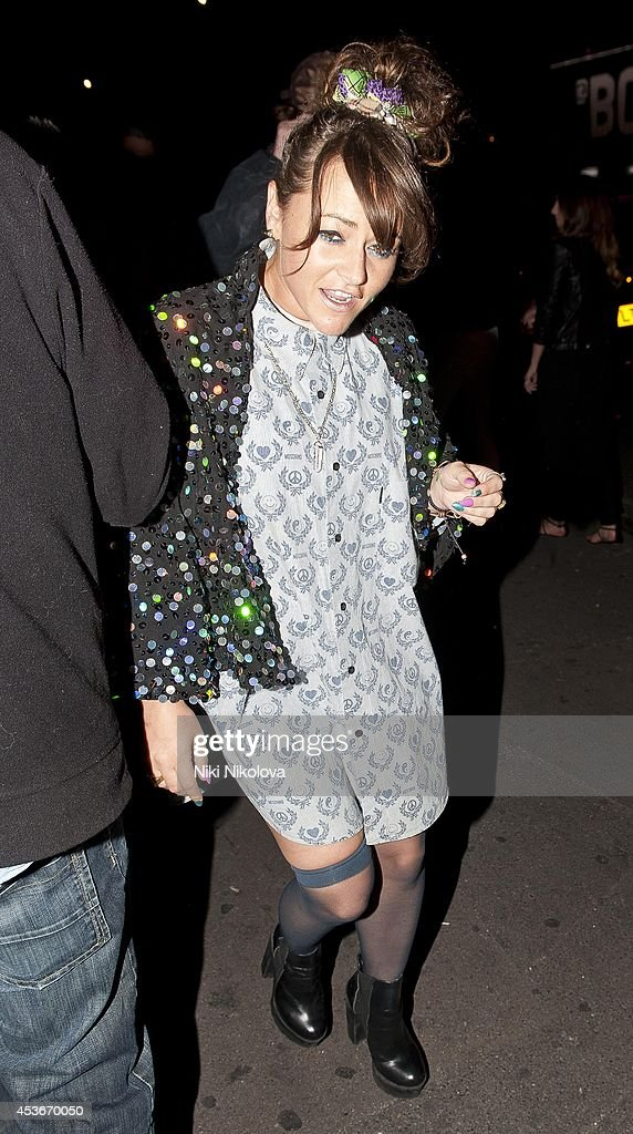 <a gi-track='captionPersonalityLinkClicked' href=/galleries/search?phrase=Jaime+Winstone&family=editorial&specificpeople=834918 ng-click='$event.stopPropagation()'>Jaime Winstone</a> is seen arriving at Shorditch House on August 15, 2014 in London, England.