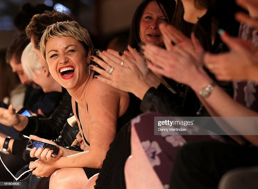 <a gi-track='captionPersonalityLinkClicked' href=/galleries/search?phrase=Jaime+Winstone&family=editorial&specificpeople=834918 ng-click='$event.stopPropagation()'>Jaime Winstone</a> is seen joking with friends at the House of Holland show during London Fashion Week Fall/Winter 2013/14 at Brewer Street Car Park on February 16, 2013 in London, England.