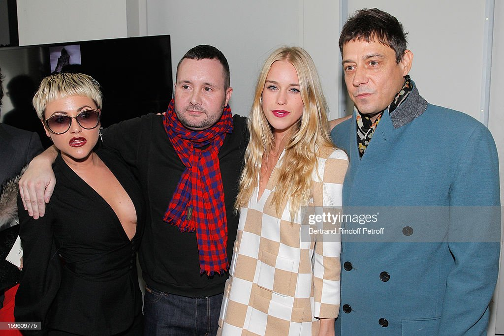 Jaime Winstone, Kim Jones, Lady Mary Charteris and Jamie Hince attend the Louis Vuitton Men Autumn / Winter 2013 show as part of Paris Fashion Week on January 17, 2013 in Paris, France.