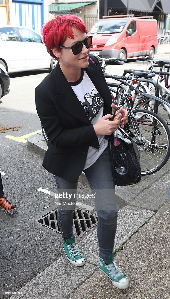 <a gi-track='captionPersonalityLinkClicked' href=/galleries/search?phrase=Jaime+Winstone&family=editorial&specificpeople=834918 ng-click='$event.stopPropagation()'>Jaime Winstone</a> seen arriving at Riverside Studios to film Celebrity Juice on May 8, 2013 in London, England.