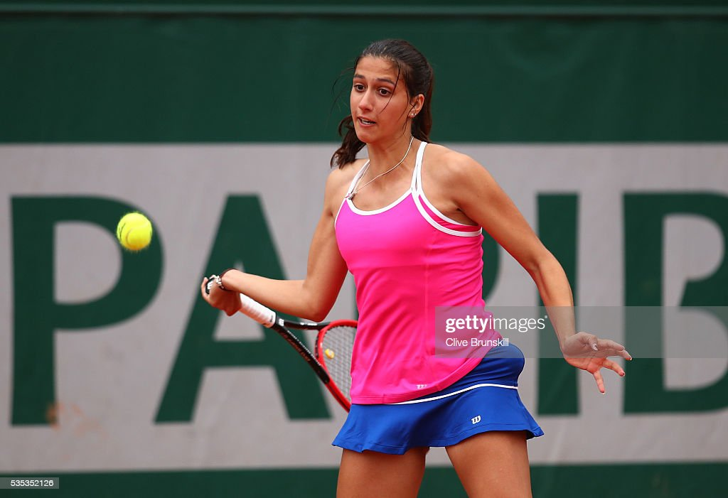 Jaimee Fourlis of Australia hits a forehand during the Girls Singles first round match against Olesya Pervushina of Russia on day eight of the 2016 French Open at Roland Garros on May 29, 2016 in Paris, France.