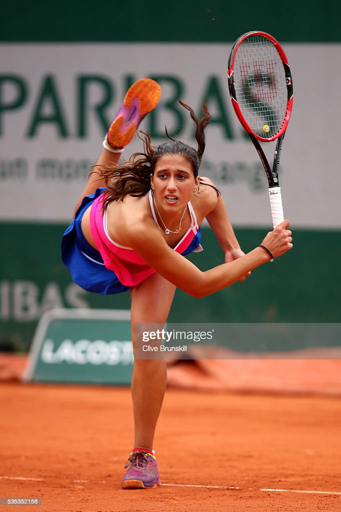 Jaimee Fourlis of Australia serves during the Girls Singles first round match against Olesya Pervushina of Russia on day eight of the 2016 French Open at Roland Garros on May 29, 2016 in Paris, France.