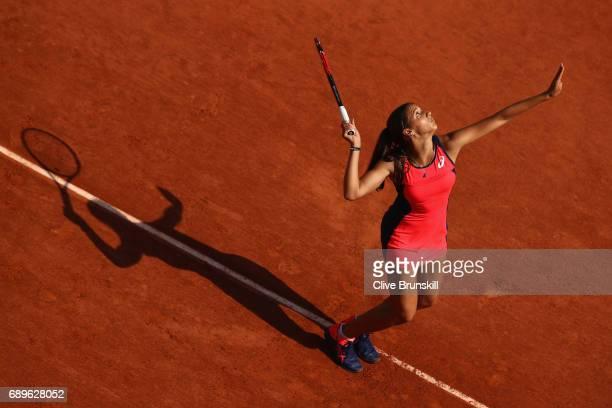 Jaimee Fourlis of Australia serves during the ladies singles first round match against Carolina Wozniacki of Denmark on day two of the 2017 French...