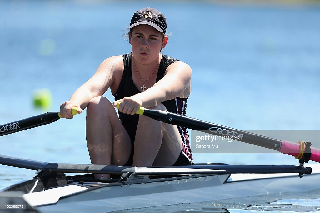 Jaimee Thompson of Hamilton Girls High waits at the start for the Girls U18 single sculls during the New Zealand Junior Rowing Regatta on February 23, 2013 in Auckland, New Zealand.