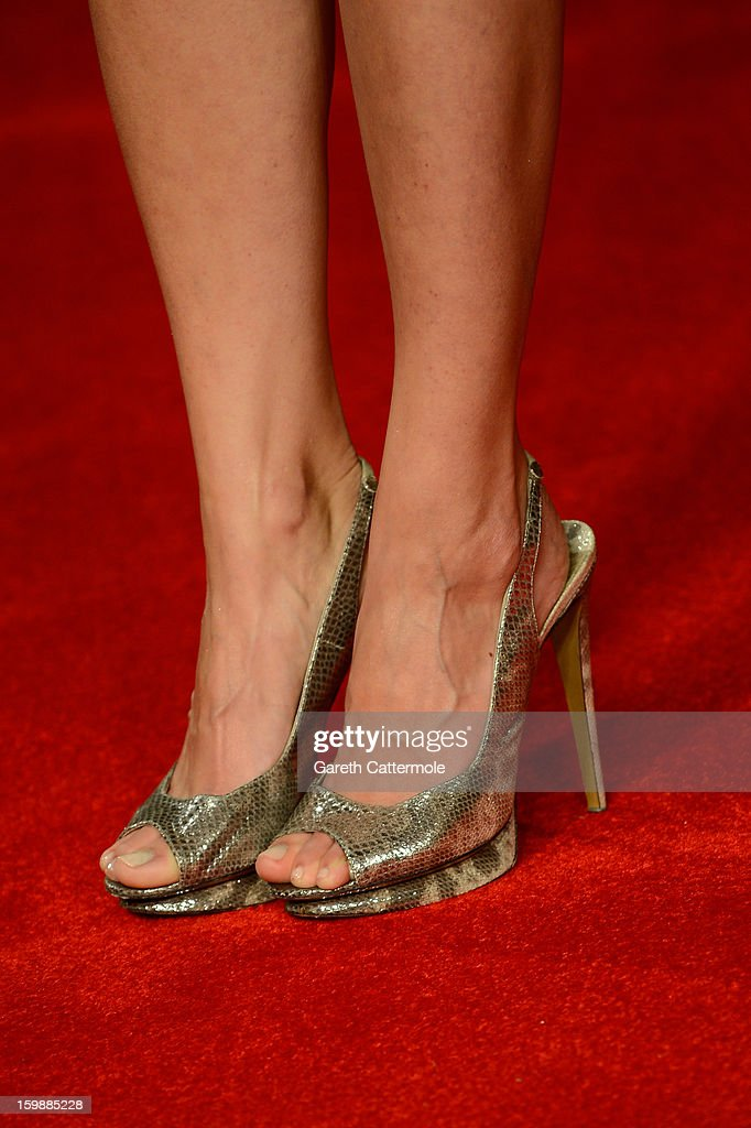 Jaimie Alexander (shoe detail) attends the European Premiere of 'The Last Stand' at Odeon West End on January 22, 2013 in London, England.