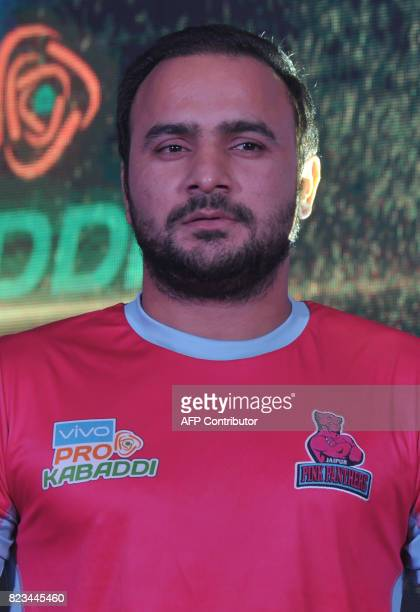 Jaipur Pink PanthersTeam kabaddi captain Manjeet Chhillar poses during an event for the fifth edition of the Pro Kabaddi League 2017 in Hyderabad on...
