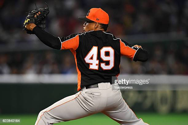 Jair Jurrjens of Netherlands pitches in the second inning during the international friendly match between Japan and Netherlands at the Tokyo Dome on...