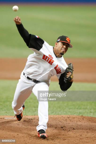 Jair Jurrjens of Team Netherlands pitches during Game 4 of Pool A against Team Chinese Taipei at Gocheok Sky Dome on Monday March 8 2017 in Seoul...