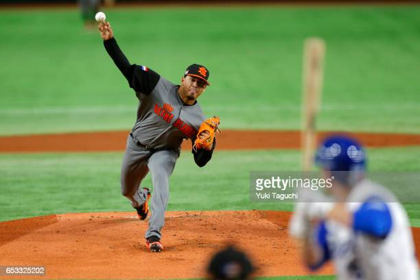 Jair Jurrjens of Team Netherlands pitches in the first inning during Game 3 of Pool E of the 2017 World Baseball Classic against Team Israel at the...