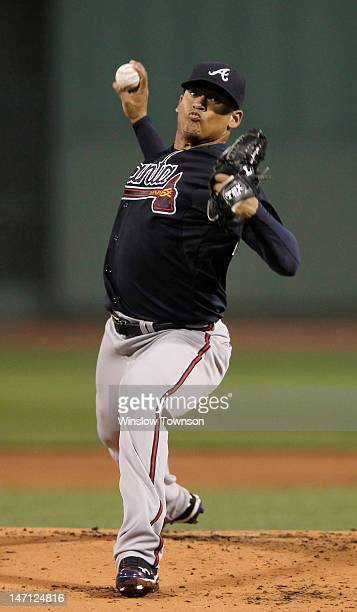 Jair Jurrjens of the Atlanta Braves pitches against the Boston Red Sox during the first inning of the interleague game at Fenway Park on June 22 2012...