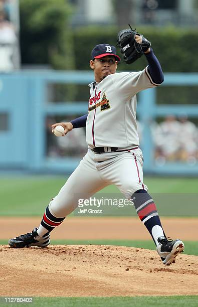 Jair Jurrjens of the Atlanta Braves pitches against the Los Angeles Dodgers in the first inning at Dodger Stadium on April 21 2011 in Los Angeles...