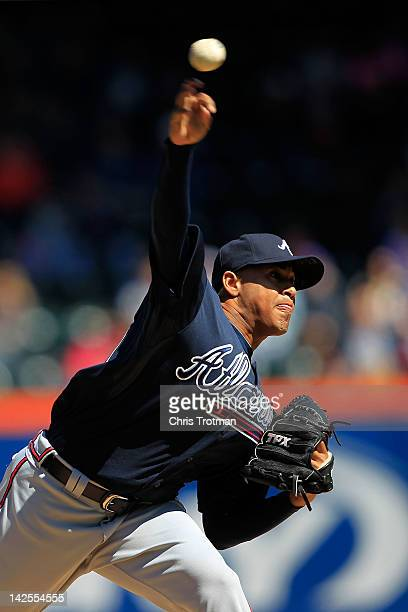 Jair Jurrjens of the Atlanta Braves pitches against the New York Mets at Citi Field on April 7 2012 in the Flushing neighborhood of the Queens...