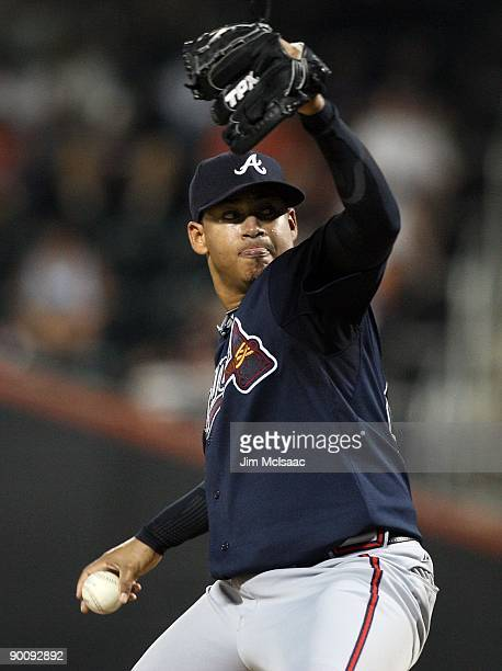 Jair Jurrjens of the Atlanta Braves pitches against the New York Mets on August 19 2009 at Citi Field in the Flushing neighborhood of the Queens...