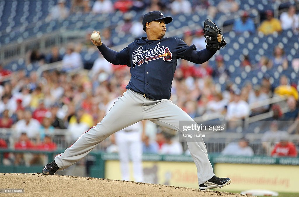 <a gi-track='captionPersonalityLinkClicked' href=/galleries/search?phrase=Jair+Jurrjens&family=editorial&specificpeople=844086 ng-click='$event.stopPropagation()'>Jair Jurrjens</a> #49 of the Atlanta Braves pitches against the Washington Nationals at Nationals Park on August 1, 2011 in Washington, DC.
