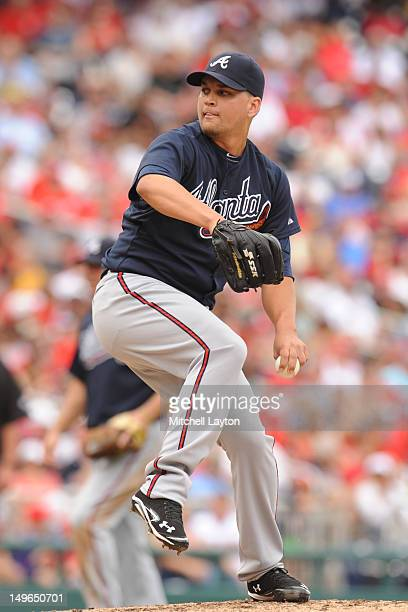 Jair Jurrjens of the Atlanta Braves pitches during a baseball game against the Washington Nationals on July 22 2012 at Nationals Park in Washington...