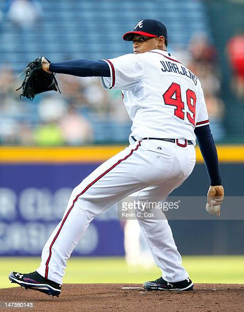 Jair Jurrjens of the Atlanta Braves pitches to the Arizona Diamondbacks at Turner Field on June 28 2012 in Atlanta Georgia