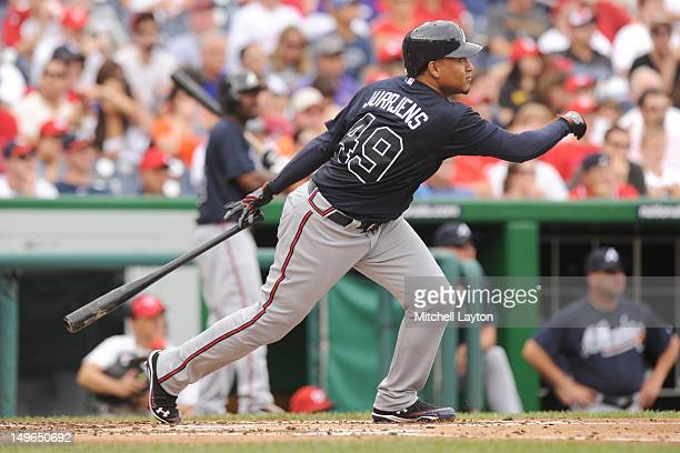 Jair Jurrjens of the Atlanta Braves takes a swing during a baseball game against the Washington Nationals on July 22 2012 at Nationals Park in...