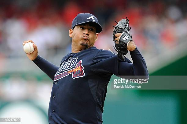 Jair Jurrjens of the Atlanta Braves throws a pitch against the Washington Nationals at Nationals Park on July 22 2012 in Washington DC
