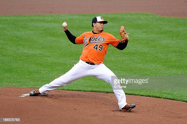 Jair Jurrjens of the Baltimore Orioles pitches against the Tampa Bay Rays at Oriole Park at Camden Yards on May 18 2013 in Baltimore Maryland