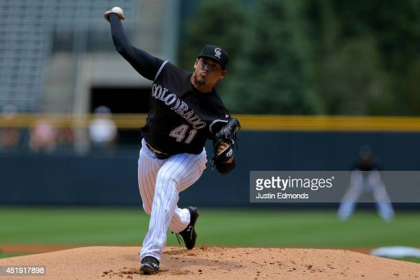 Jair Jurrjens of the Colorado Rockies delivers to home plate during the first inning against the San Diego Padres at Coors Field on July 9 2014 in...