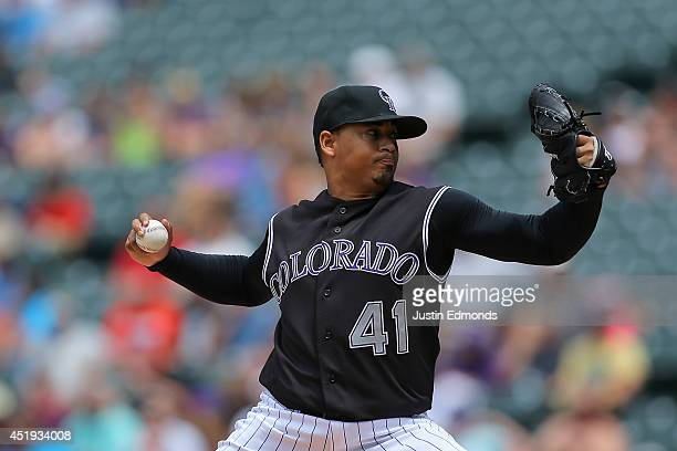 Jair Jurrjens of the Colorado Rockies delivers to home plate during the third inning against the San Diego Padres at Coors Field on July 9 2014 in...