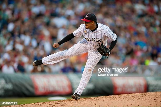 Jair Jurrjens of the Colorado Rockies pitches against the Los Angeles Dodgers during a game at Coors Field on July 4 2014 in Denver Colorado The...