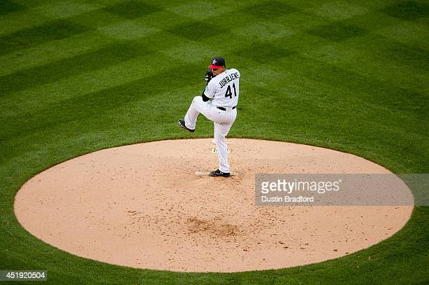 Jair Jurrjens of the Colorado Rockies pitches against the Los Angeles Dodgers at Coors Field on July 4 2014 in Denver Colorado The Dodgers beat the...