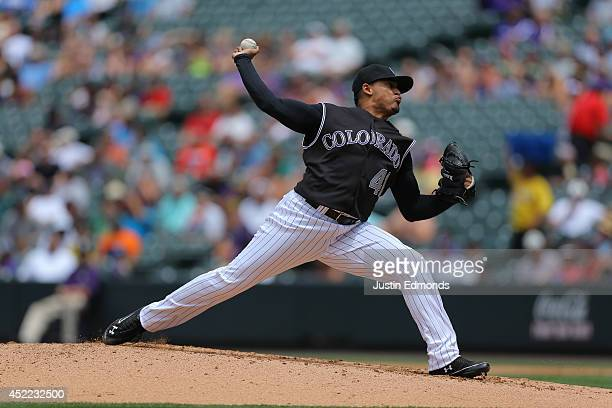 Jair Jurrjens of the Colorado Rockies pitches against the San Diego Padres at Coors Field on July 9 2014 in Denver Colorado