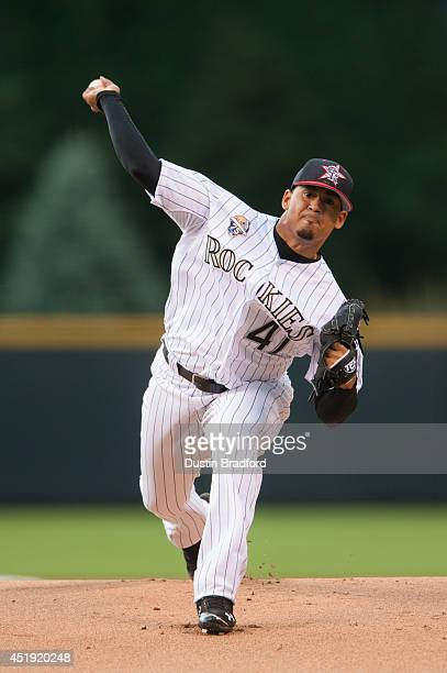 Jair Jurrjens of the Colorado Rockies pitches in the first inning of a game against the Los Angeles Dodgers at Coors Field on July 4 2014 in Denver...