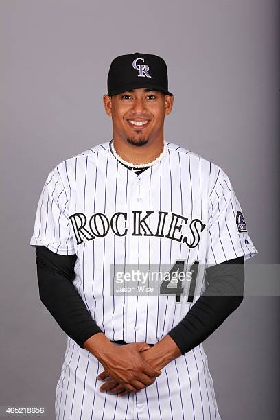Jair Jurrjens of the Colorado Rockies poses during Photo Day on Sunday March 1 2015 at Salt River Fields at Talking Stick in Scottsdale Arizona