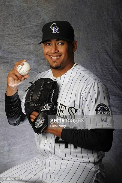 Jair Jurrjens of the Colorado Rockies poses for a portrait during Photo Day on March 1 2015 at Salt River Fields at Talking Stick in Scottsdale...