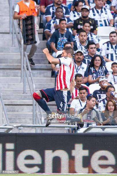 Jair Pereira of Chivas celebrates after scoring his team's first goal during the 4th round match between Monterrey and Chivas as part of the Torneo...
