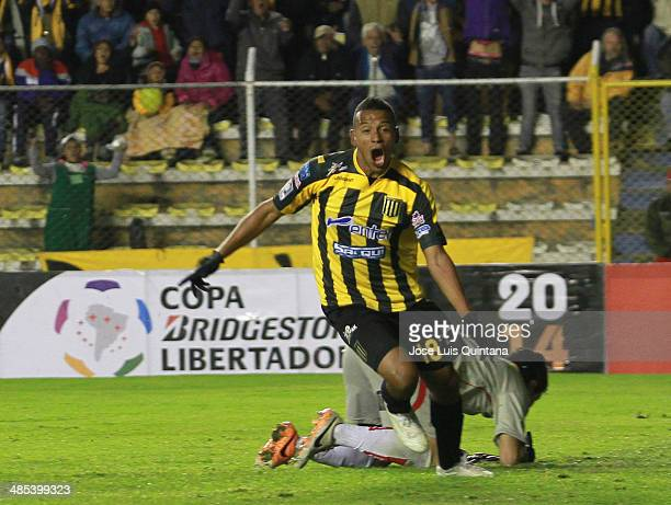 Jair Reinoso of The Strongest celebrates a scored goal during a match between The Strongest and Defensor Sporting as part of the Copa Bridgestone...