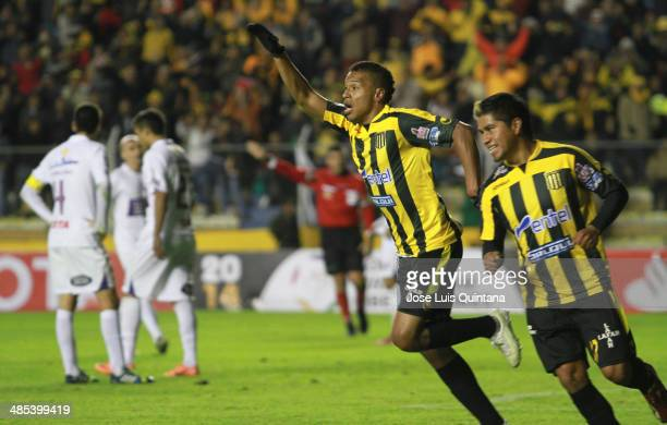 Jair Reynoso of Defensor Sporting celebrates a scored goal during a match between The Strongest and Defensor Sporting as part of the Copa Bridgestone...