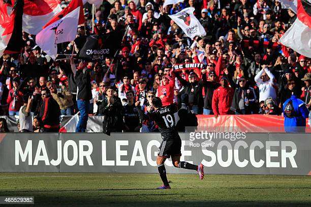 Jairo Arrieta of DC United celebrates after scoring a second half goal against the Montreal Impact during their 10 win at RFK Stadium on March 7 2015...