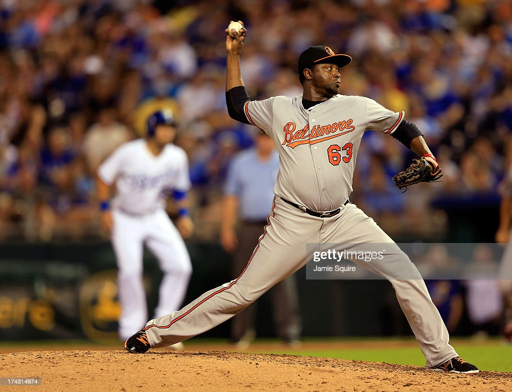 Jairo Asencio #63 of the Baltimore Orioles pitches during the game against the Kansas City Royals at Kauffman Stadium on July 23, 2013 in Kansas City, Missouri.
