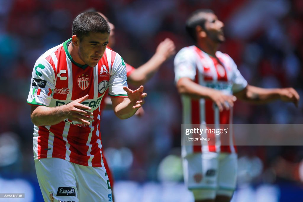 Jairo Gonzalez of Necaxa reacts during the fifth round match between Toluca and Necaxa as part of the Torneo Apertura 2017 Liga MX at Nemesio Diez Stadium on August 20, 2017 in Toluca, Mexico.
