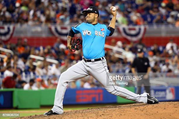 Jairo Labourt of the World Team pitches during the SirusXM AllStar Futures Game at Marlins Park on Sunday July 9 2017 in Miami Florida