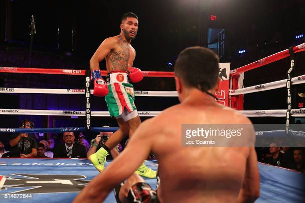 Jairo Ochoa knocks down Edgar Valerio in the first round during LA Fight Club at Belasco Theatre on July 14 2017 in Los Angeles California