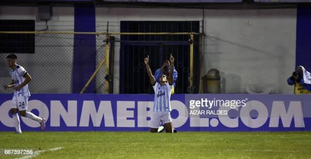Jairo Palomino of Atletico Tucuman of Argentina celebrates after scoring against Wilstermann of Bolivia during their Copa Libertadores football match...